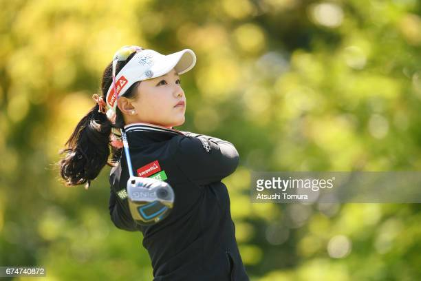 Yuting Seki of China hits her tee shot on the 2nd hole during the second round of the CyberAgent Ladies Golf Tournament at the Grand Fields Country...