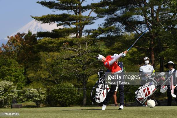 Yuting Seki of China hits her tee shot on the 3rd hole during the final round of the CyberAgent Ladies Golf Tournament at the Grand Fields Country...