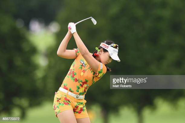 Yuting Seki of China hits her tee shot on the 3rd hole during the final round of the CAT Ladies Golf Tournament HAKONE JAPAN 2017 at the Daihakone...