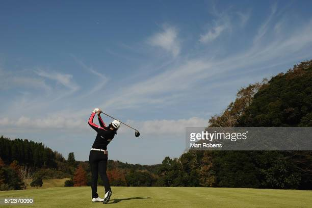 Yuting Seki of China hits her tee shot on the 3rd hole during the first round of the Itoen Ladies Golf Tournament 2017 at the Great Island Club on...