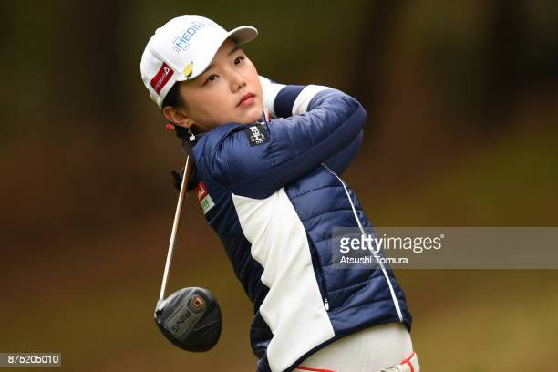 Yuting Seki of China hits her tee shot on the 6th hole during the second round of the Daio Paper Elleair Ladies Open 2017 at the Elleair Golf Club on...