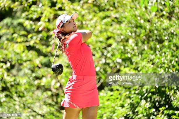 Yuting Seki of China hits her tee shot on the 7th hole during the second round of the GOLF5 Ladies Tournament at the GOLF5 Country Mizunami Course on...