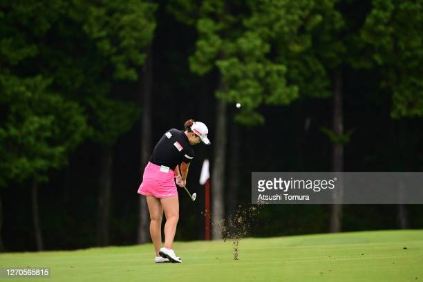 Yuting Seki of China hits her third shot on the 2nd hole during the first round of the GOLF5 Ladies Tournament at the GOLF5 Country Mizunami Course...