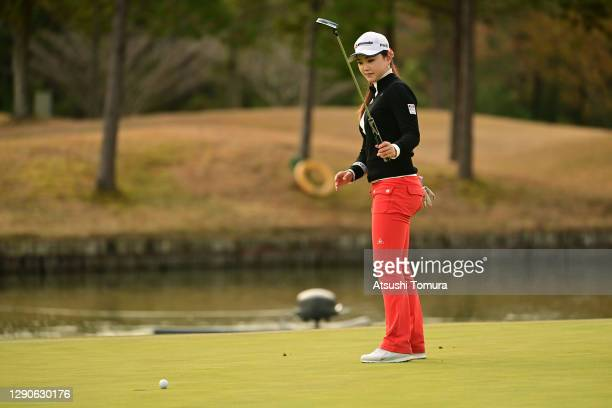 Yuting Seki of China holes the winning putt on the 18th green during the final round of the JLPGA Rookies Championship Kaga Electronics Cup at the...