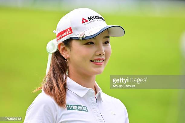 Yuting Seki of China is seen on the 1st tee during the final round of the GOLF5 Ladies Tournament at the GOLF5 Country Mizunami Course on September...