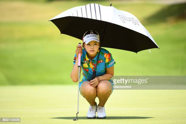 Yuting Seki of China lines up during the second round of the Earth Mondamin Cup at the Camellia Hills Country Club on June 23 2017 in Sodegaura Japan
