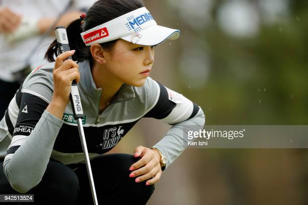 Yuting Seki of China lines up for her putt on the 8th green during the final round of the Hanasaka Ladies Yanmar Golf Tournament at Biwako Country...