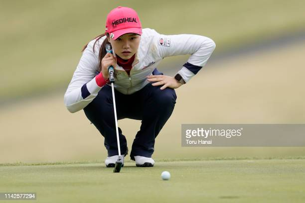 Yuting Seki of China lines up for her putt on the second hole, during the final round of the Hanasaka Ladies Yanmar Golf Tournament at Biwako Country...