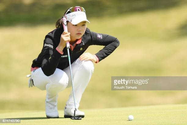 Yuting Seki of China lines up her putt on the 1st green during the second round of the CyberAgent Ladies Golf Tournament at the Grand Fields Country...