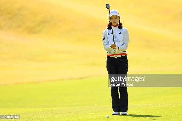 Yuting Seki of China lines up her second shot on the 15th hole during the first round of the Daio Paper Elleair Ladies Open 2017 at the Elleair Golf...
