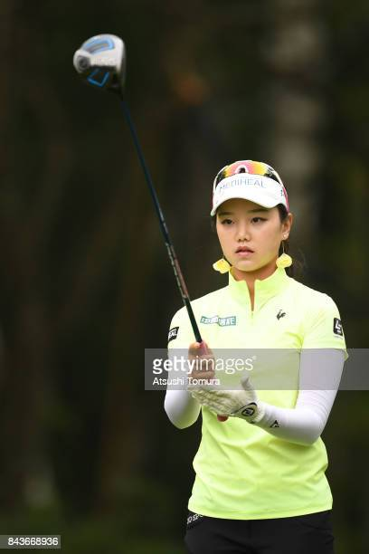 Yuting Seki of China lines up her tee shot on the 11th hole during the first round of the 50th LPGA Championship Konica Minolta Cup 2017 at the Appi...