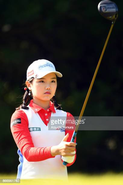 Yuting Seki of China lines up her tee shot on the 3rd hole during the first round of the Higuchi Hisako Ponta Ladies at the Musashigaoka Golf Course...