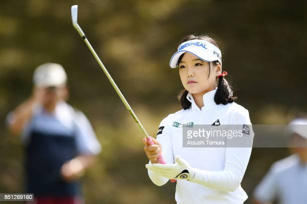 Yuting Seki of China lines up her tee shot on the 4th hole during the first round of the Miyagi TV Cup Dunlop Ladies Open 2017 at the Rifu Golf Club...