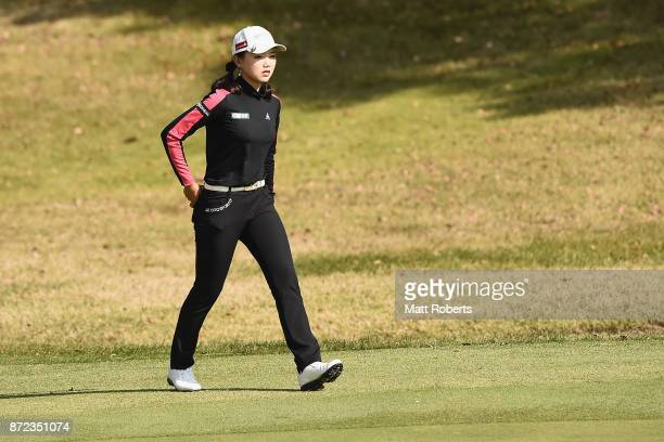 Yuting Seki of China looks on during the first round of the Itoen Ladies Golf Tournament 2017 at the Great Island Club on November 10 2017 in Chonan...