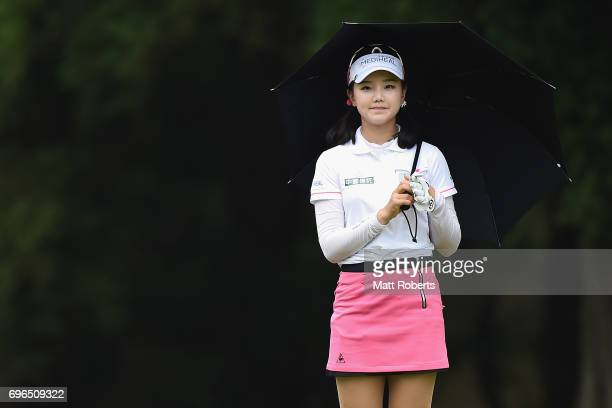 Yuting Seki of China looks on during the first round of the Nichirei Ladies at the Sodegaura Country Club Shinsode Course on June 16 2017 in Chiba...