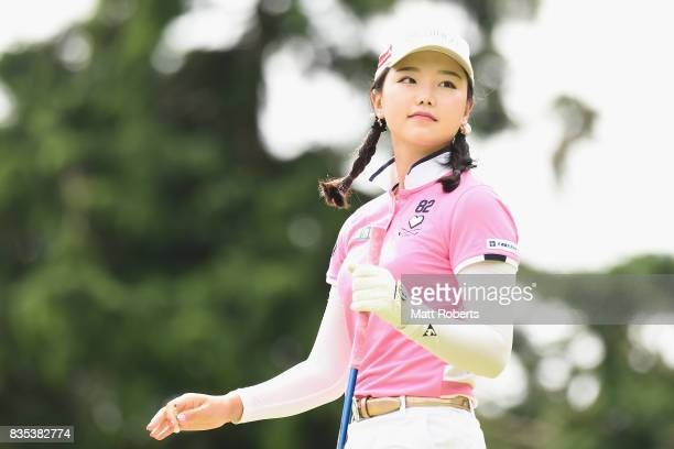 Yuting Seki of China looks on during the second round of the CAT Ladies Golf Tournament HAKONE JAPAN 2017 at the Daihakone Country Club on August 19...
