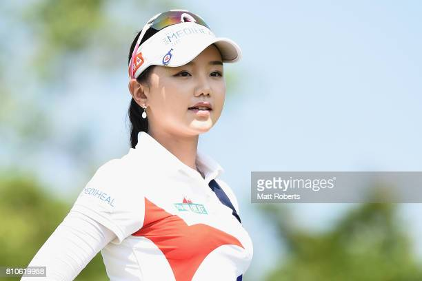 Yuting Seki of China looks on during the second round of the Nipponham Ladies Classics at the Ambix Hakodate Club on July 8 2017 in Hokuto Hokkaido...