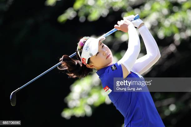 Yuting Seki of China plays a tee shot on the 5th hole of second round during the Chukyo Television Bridgestone Ladies Open at the Chukyo Golf Club...