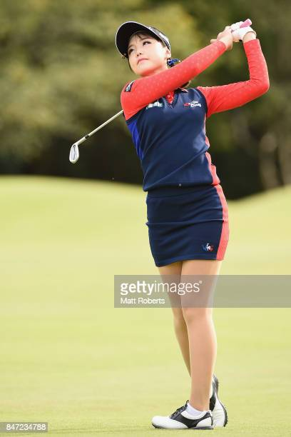 Yuting Seki of China plays her approach shot on the 1st hole during the first round of the Munsingwear Ladies Tokai Classic 2017 at the Shin Minami...