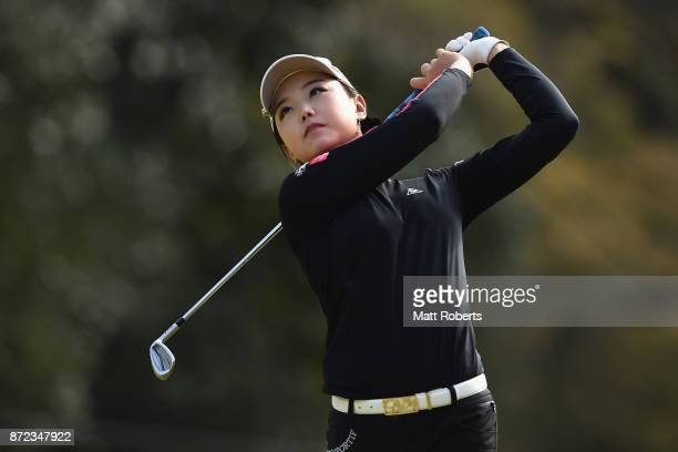 Yuting Seki of China plays her approach shot on the 3rd hole during the first round of the Itoen Ladies Golf Tournament 2017 at the Great Island Club...