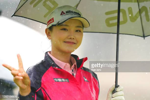 Yuting Seki of China poses after her tee shot on the 1st hole during the first round of the Earth Mondamin Cup at the Camellia Hills Country Club on...