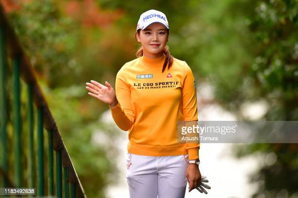 Yuting Seki of China poses on her way to the 8th tee during the third round of the Nobuta Group Masters GC Ladies at Masters Golf Club on October 26,...