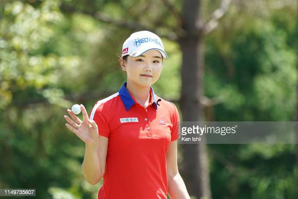 Yuting Seki of China prepares to putt on the 6th hole during the final round of the Shizu Hills Ladies Mori Building Cup at Shizu Hills Country Club...