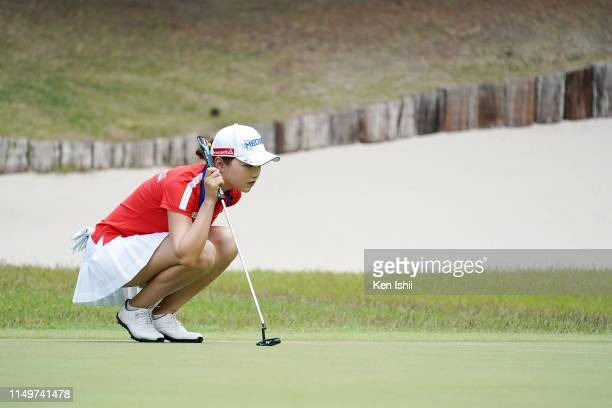 Yuting Seki of China prepares to putt on the first green during the final round of the Shizu Hills Ladies Mori Building Cup at Shizu Hills Country...