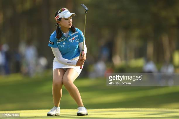 Yuting Seki of China reacts on the 17th green during the third round of the World Ladies Championship Salonpas Cup at the Ibaraki Golf Club on May 6...