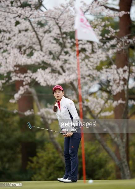 Yuting Seki of China reacts to her putt on the second hole during the final round of the Hanasaka Ladies Yanmar Golf Tournament at Biwako Country...