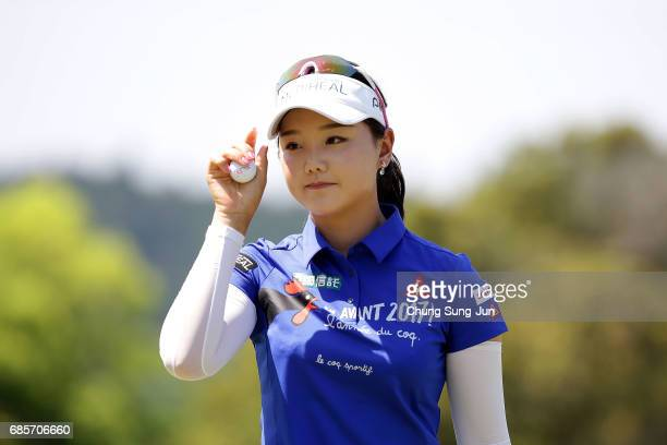 Yuting Seki of China reats after a putt on the 18th hole of second round during the Chukyo Television Bridgestone Ladies Open at the Chukyo Golf Club...