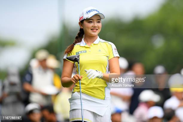 Yuting Seki of China smiles after hitting her tee shot on the 1st hole during the final round of the Hokkaido meiji Cup at Sapporo International...