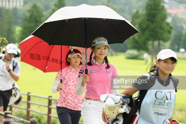 Yuting Seki of China walks to the 8th hole fairway during the second round of the CAT Ladies Golf Tournament HAKONE JAPAN 2017 at the Daihakone...