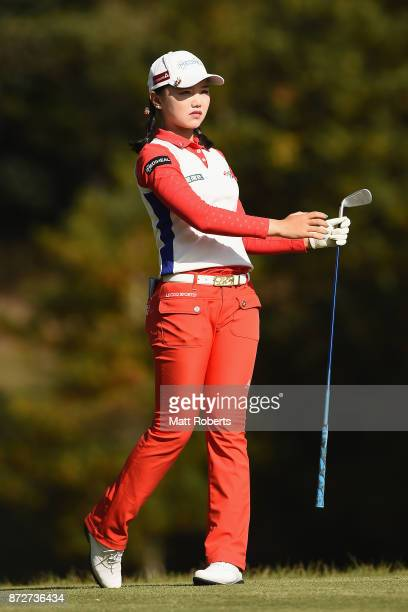 Yuting Seki of China watches her tee shot on the 2nd hole during the second round of the Itoen Ladies Golf Tournament 2017 at the Great Island Club...