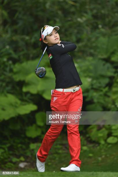 Yuting Seki of Japan hits her tee shot on the 11th hole during the final round of the meiji Cup 2017 at the Sapporo Kokusai Country Club Shimamatsu...