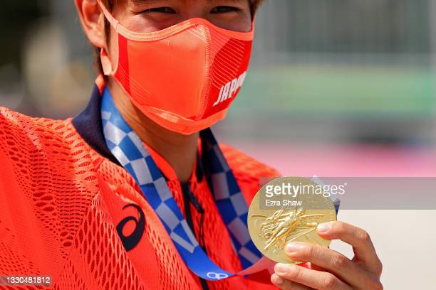 Yuto Horigome of Team Japan poses with his gold medal at the Skateboarding Men's Street Finals medal ceremony on day two of the Tokyo 2020 Olympic...