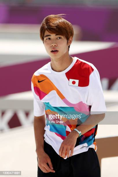 Yuto Horigome of Team Japan reacts at the Skateboarding Men's Street Finals on day two of the Tokyo 2020 Olympic Games at Ariake Urban Sports Park on...