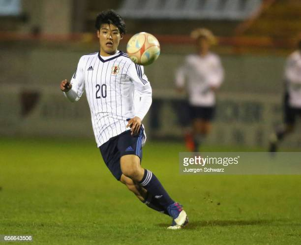 Yuto Iwasaki of Japan eyes the ball during a friendly soccer match between F91 Diddeleng and the Japan U20 team at Stade Jos Nosbaum on March 22 2017...