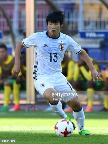 Yuto Iwasaki of Japan in action during the FIFA U20 World Cup SKorea Republic 2017 group D match between South Africa and Japan at Suwon World Cup...