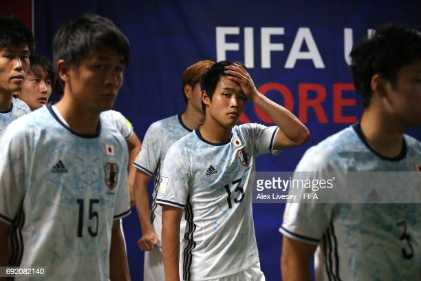 Yuto Iwasaki of Japan looks on in the tunnel during the FIFA U20 World Cup Korea Republic 2017 Round of 16 match between Venezuela and Japan at...