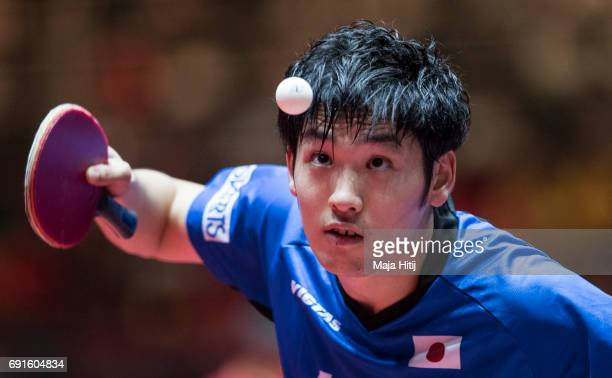 Yuto Muramatsu of Japan competes during Men's Singles quarterfinals at Table Tennis World Championship at Messe Duesseldorf on June 2 2017 in...