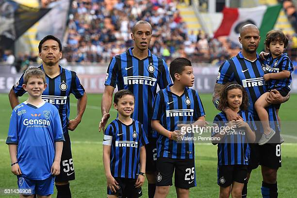 Yuto Nagatomo and Joao Miranda with Felipe Melo of FC Internazionale Milano line up with their childrens during the Serie A match between FC...