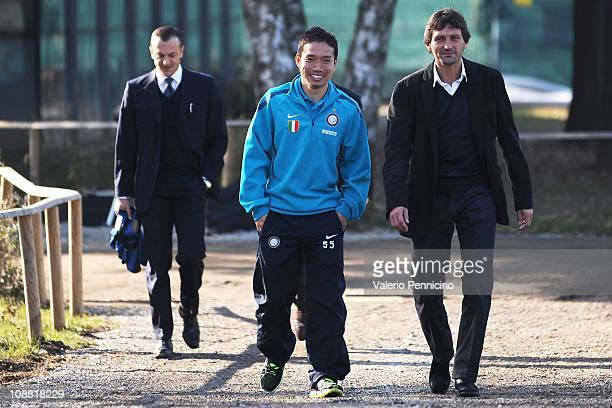 Yuto Nagatomo and Leonardo during Yuto Nagatomo signs for FC Internazionale Milano at Centro Sportivo Angelo Moratti on February 4 2011 in Como Italy