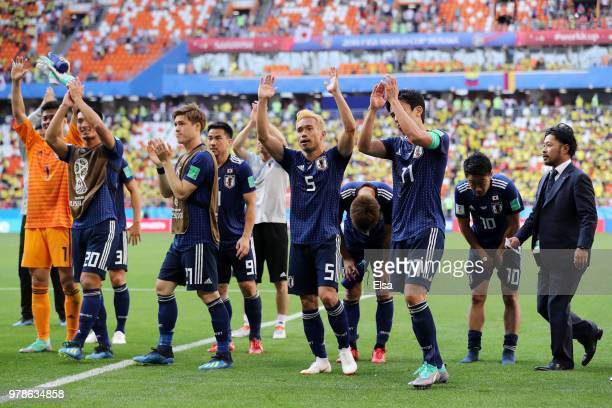Yuto Nagatomo and Makoto Hasebe of Japan celebrate after the 2018 FIFA World Cup Russia group H match between Colombia and Japan at Mordovia Arena on...