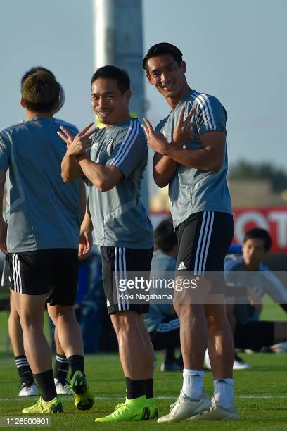 Yuto Nagatomo and Tomoaki Makino of Japan pose for photographs during the training session at Cricket training site 2 on January 31 2019 in Abu Dhabi...