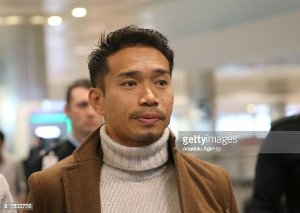 Yuto Nagatomo arrives at Ataturk International Airport in Istanbul Turkey to sign a contract with Galatasaray to complete his transfer from FC...