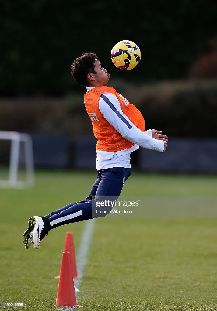 Yuto Nagatomo during FC Internazionale Training Session at Appiano Gentile on December 06, 2014 in Como, Italy.