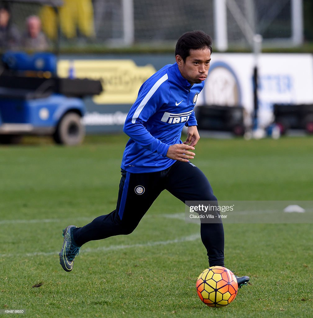 Yuto Nagatomo in action during a FC Internazionale training session at the club's training ground at Appiano Gentile on October 29, 2015 in Como, Italy.