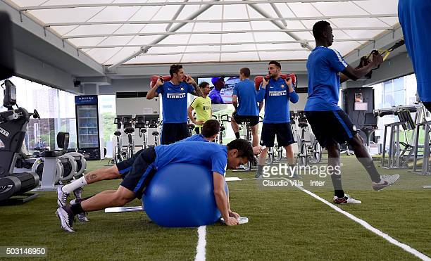 Yuto Nagatomo in action during the FC Internazionale training session at Aspire on January 02 2016 in Doha Qatar