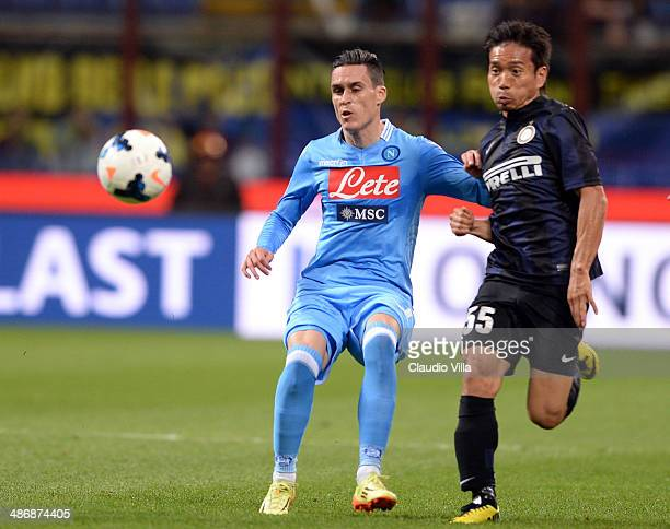 Yuto Nagatomo of FC Inter Milan and Jose Maria Callejon of SSC Napoli compete for the ball during the Serie A match between FC Internazionale Milano...